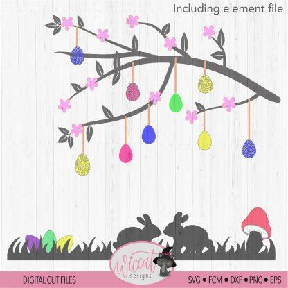 Easter branch window decoration