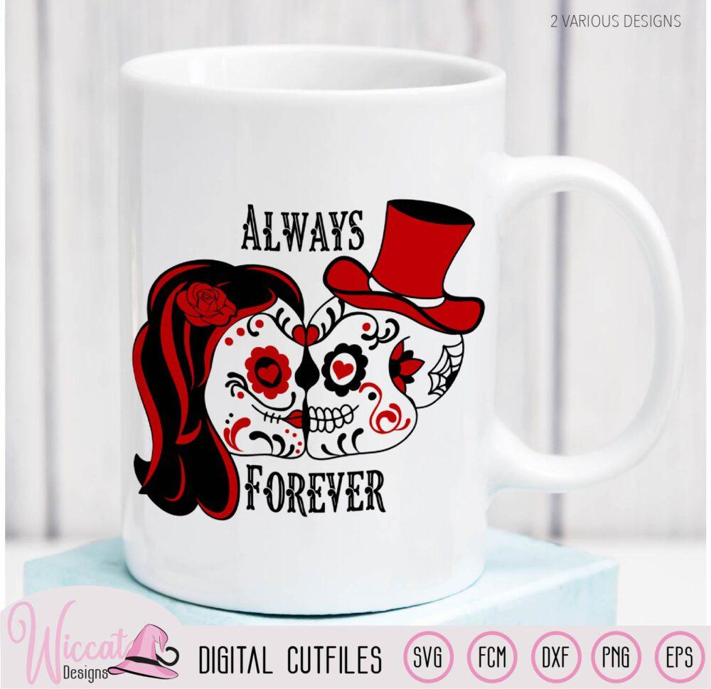 Sugar Skull valentine couple svg