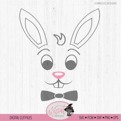 Easter Boy Bunny face with bow tie, Easter shirt design, cricut svg file, boy rabbit svg, scanncut fcm file, vinyl craft, tumbler design,