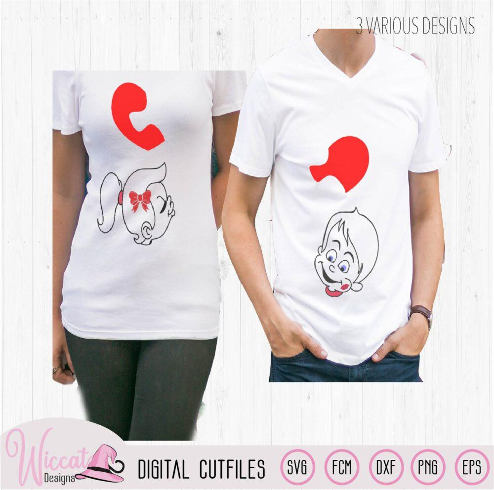 Koppel valentijn shirt svg, Valentijn karakters