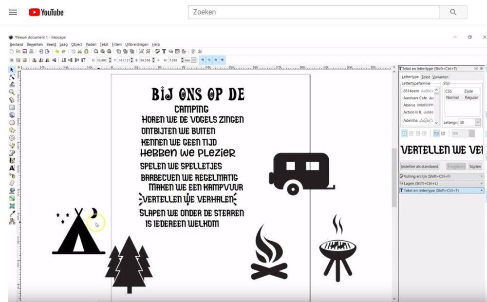 Tekst bord maken in Inkscape