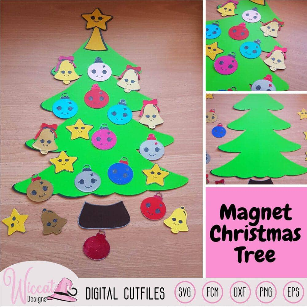 Christmas Kawaii tree, Kawaii Ornaments svg, Christmas bauble, Kids christmas craft, Magnetic tree design, holiday, Xmas svg, Svg cricut