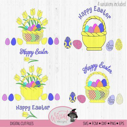 Easter basket with tulips and Easter eggs
