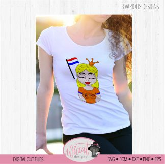 Dutch queen, Kingsday svg, Girl queen cartoon