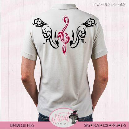 Piano tribal design with music notes, Music treble clef, Tribal shirt svg, Piano men shirt svg, dxf cut file, svg for cricut, scanncut fcm,