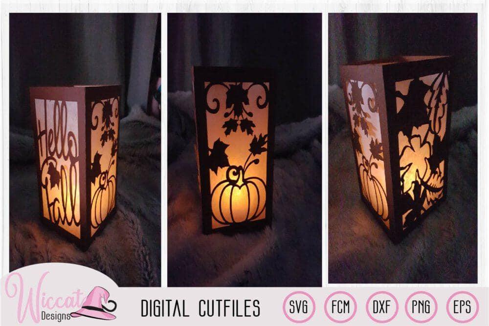 Happy fall lantern template, pumpkin and leaves, paper craft, home decoration diy, scanncut fcm, paper craft, dxf cut file, cricut svg