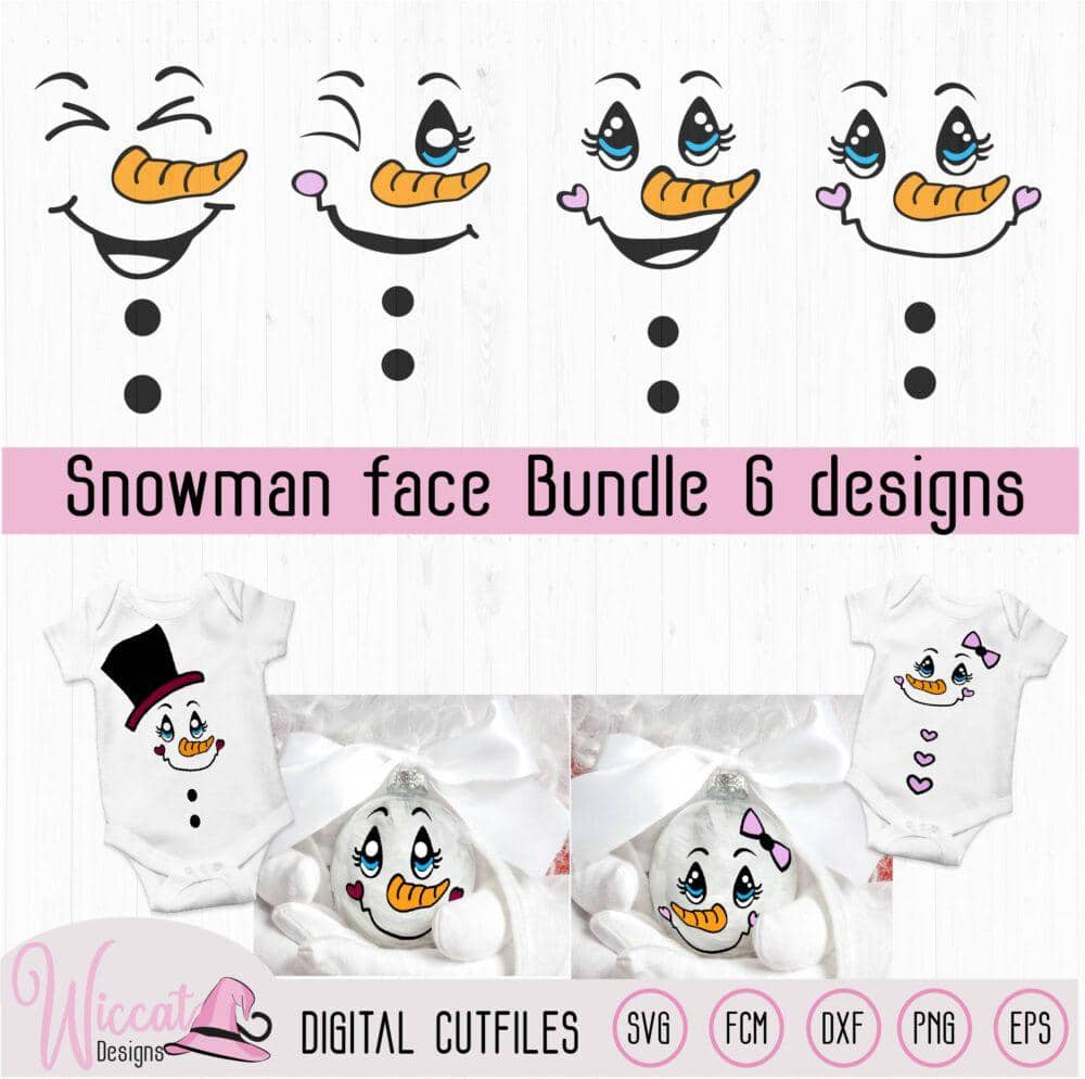 Snowman Face bundle, Christmas ornament,