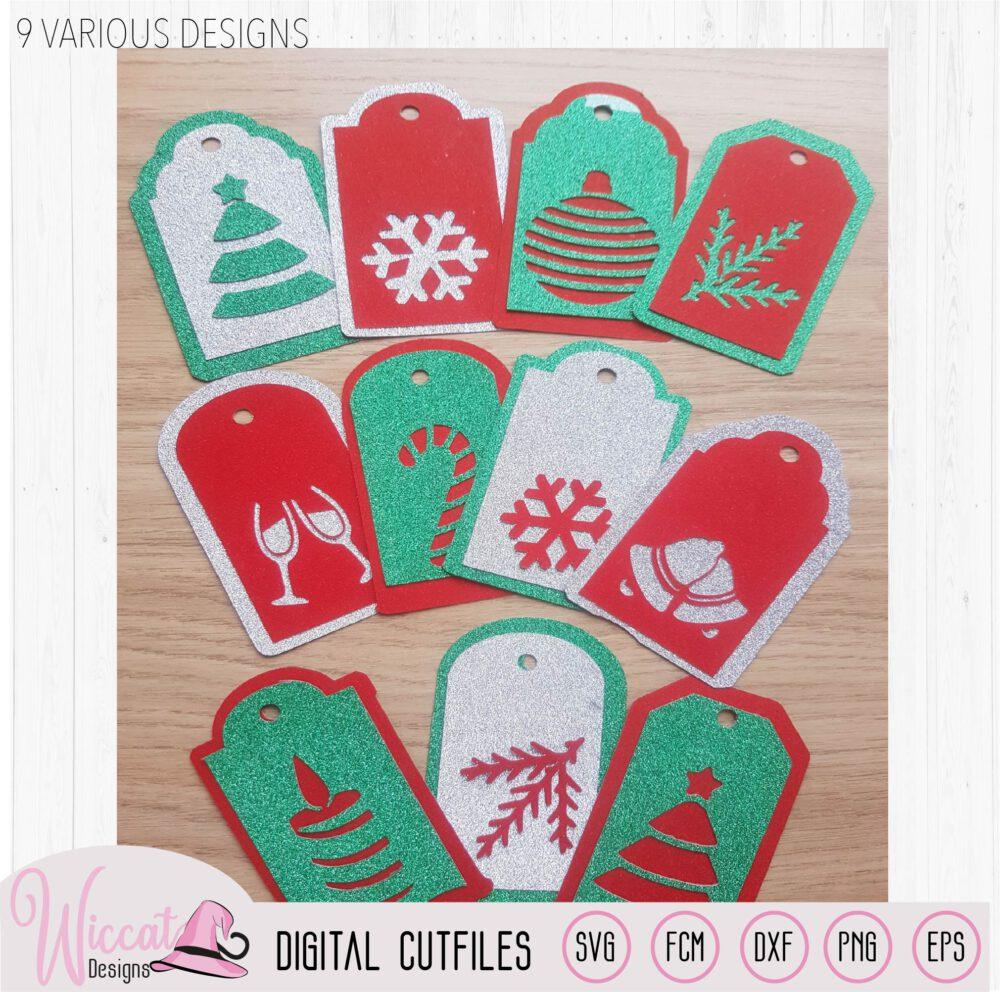 Christmas gift tags cut file, 9 different gift tags, presents diy,