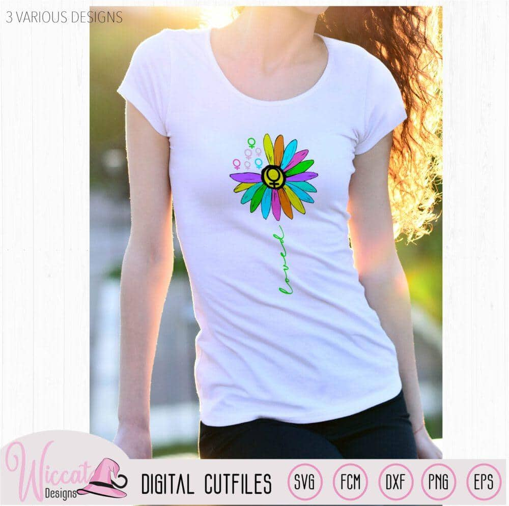 Rainbow Sunflower loved, Women sign, Men sign,