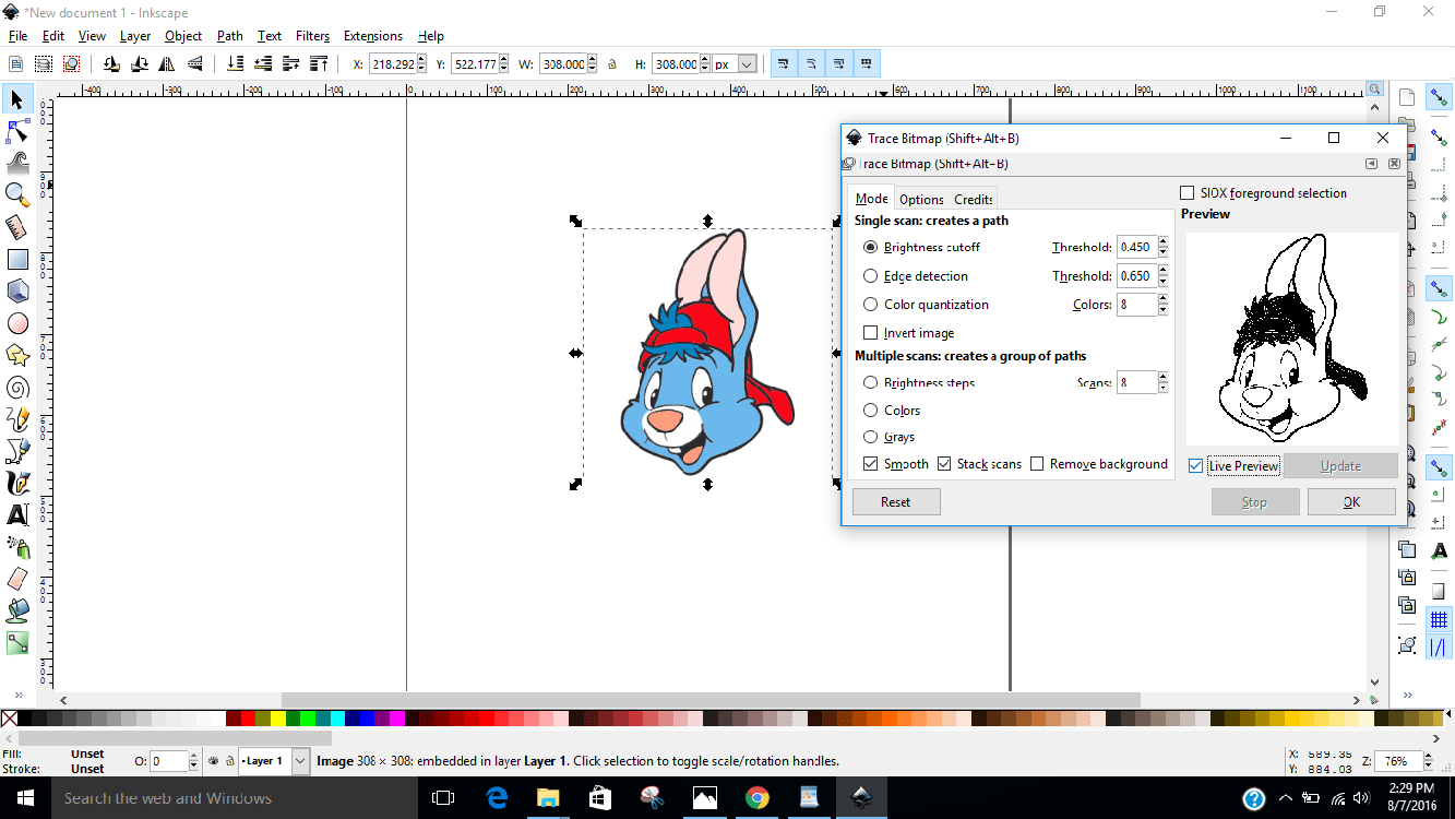 tracing in inkscape