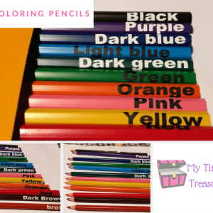Coloring pencils with color names, Colouring pencil,