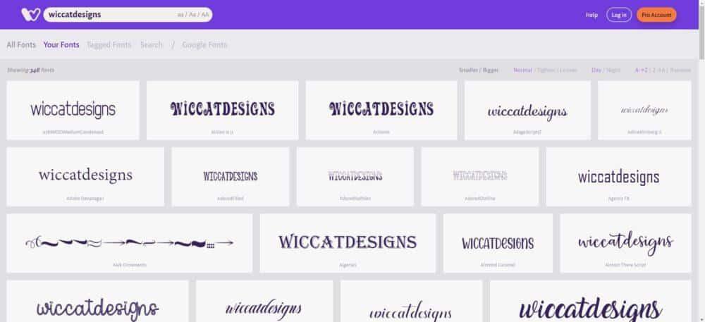 overzicht fonts