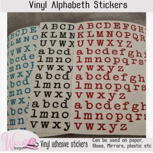 Old typewriter Alphabet, small letter stickers