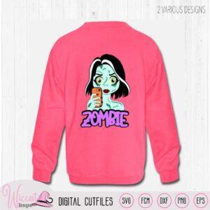 Zombie meisje, halloween monster svg