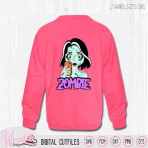 Zombie girl svg, selfie girl cartoon for Halloween,